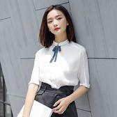 原水夏裝新款蝴蝶結雪紡白襯衫女短袖寬鬆小清新上衣韓范襯衣   時尚潮流