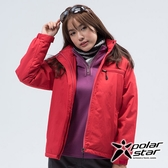 PolarStar 女 防風保暖外套『紅色』 P18220 戶外 休閒 登山 露營 保暖 禦寒 防風 連帽
