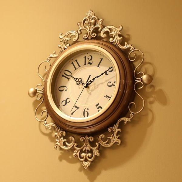 掛鐘 美式藝術時鐘潮流石英鐘錶歐式客廳靜音家用時尚大氣掛錶 - 古梵希