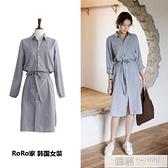 2021春季韓版新款學院風百搭中長款收腰繫帶條紋洋裝襯衫裙女裝 夏季新品