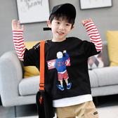 男童長袖T恤秋裝2019新款兒童假兩件打底衫純棉中大童男孩洋氣潮T
