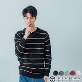 【OBIYUAN】針織衫 高質感毛衣 條紋 撞色 長袖衣服 共5色【X613】