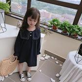 女童洋裝 2019春秋季新款 女童寶寶甜美長袖洋裝 兒童花邊大翻領裙子