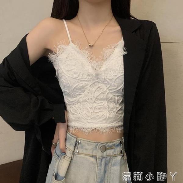 辣妹蕾絲白色吊帶背心女夏季內搭抹胸設計感短款上衣外穿潮ins 蘿莉新品