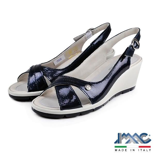 【IMAC】時尚交叉楔型高跟鞋 藍色(72510-BU)