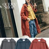 Queen Shop【02040576】素面雙口袋連帽風衣外套 三色售*現+預*