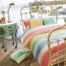 法蘭絨 / 雙人【光之笛卡爾】含兩件枕套  鋪棉床包薄被毯組  戀家小舖AAR215
