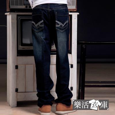 牛仔褲★簡約口袋刷色伸縮中直筒牛仔褲● 樂活衣庫【7062】