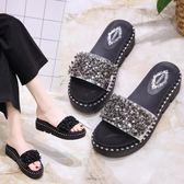 韓版時尚拖鞋防滑厚底鞋韓版百搭水鑽涼鞋女鞋休閒