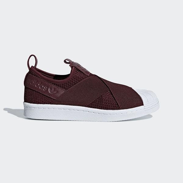 ADIDAS SUPERSTAR SLIP ON W [B37371] 女鞋 運動 休閒 經典 酒紅 白 愛迪達