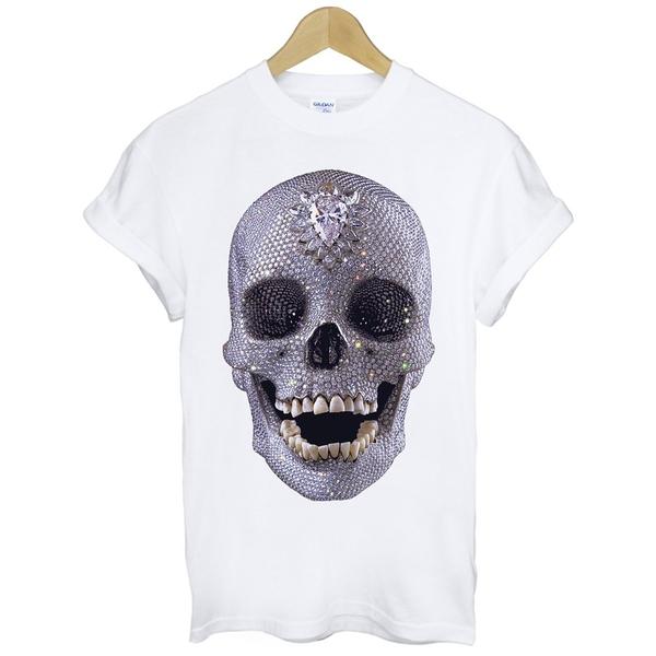 Diamond Skull短袖T恤 白色 鑽石骷髏設計huf dope obey風格插畫塗鴉t-shirt 特價390