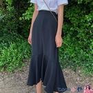 熱賣半身魚尾裙 黑色不規則前短后長裙子女半身裙中長款魚尾裙春秋垂感a字裙高 coco
