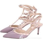 VALENTINO ROCKSTUD ANKLE STRAP鉚釘繫帶高跟鞋(紫) 1520451-04