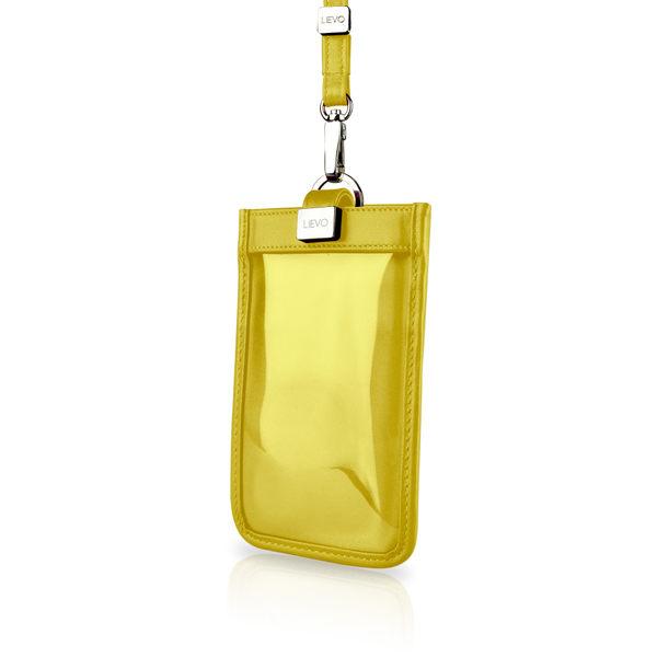 【LIEVO】 TOUCH - 頸掛式真皮手機套_黃(iPhone XS / iPhone XS Max / Note 9 / 5.7 吋螢幕以下手機皆適用 )