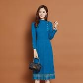 長袖洋裝 2020冬季新款女裝韓版修身中長款蕾絲針織衫春秋連衣裙毛衣打底衫