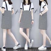 新款春夏季寬鬆條紋短袖中長款T恤假兩件連衣裙