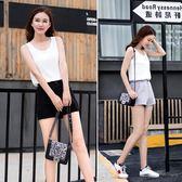 【優選】雪紡短褲女夏熱褲高腰闊腿黑色a字休閒