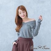 【Tiara Tiara】寬肩大V領直紋針織衫(白/灰)