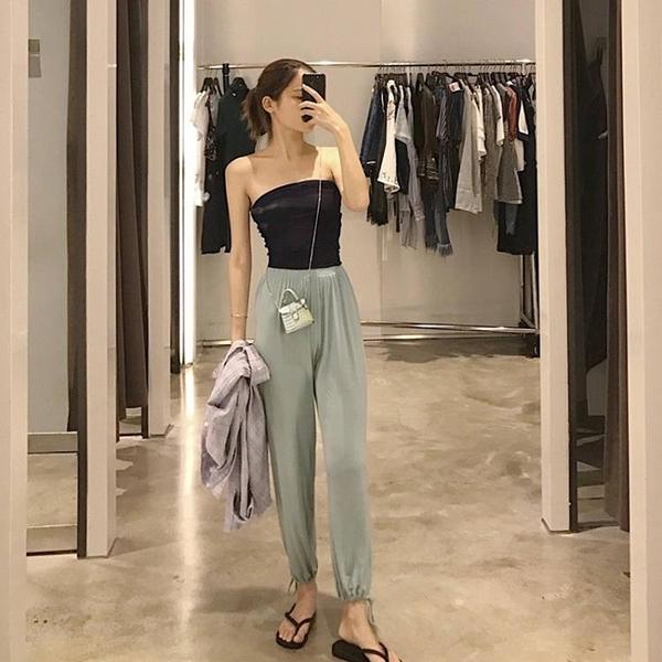 JOYOUS大喜慶女休閒褲子高腰垂感運動束口顯瘦薄款夏季蘿蔔長褲