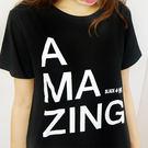 Black & White Voice T-shirt-不可思議AMAZING(Black)