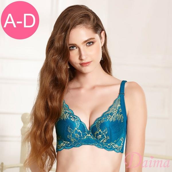 黛瑪Daima 內衣 (A-D)時尚花漾雙色刺繡蕾絲機能款(綠色)9141