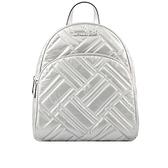 【MICHAEL KORS】Abbey菱格銀字皮革口袋後背包(中)(銀色) 35H9SAYB2C SILVER