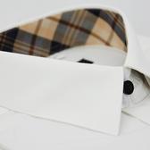 【金‧安德森】經典格紋繞領黑扣白色窄版長袖襯衫