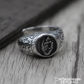 戒指S925純銀打造做舊復古指環 泰銀佛手拈花指開口男女款戒指 聖誕節