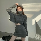 毛衣套裝女高領短款寬鬆韓版灰色外穿針織衫2021春秋新款套頭上衣 貝芙莉