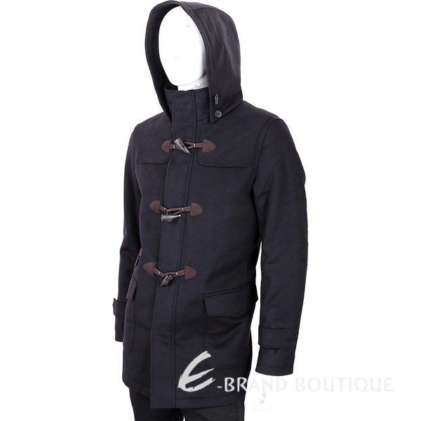 FRADI 黑色牛角釦羊毛外套(帽可拆) 1540392-01