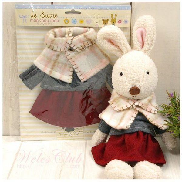 【發現。好貨】日本正品 le sucre 砂糖兔 法國兔娃娃  (冬季披肩30公分款)