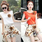 夏季新款顯瘦時尚兩件套洋裝女韓版碎花裙子短袖棉麻套裝裙 秘密盒子