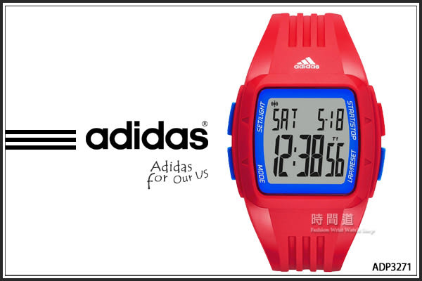 【時間道】[ADIDAS愛迪達]坦克休閒電子錶(中)-紅膠深藍按鈕(ADP3271)免運費