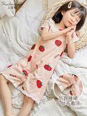 上寶麥夏女童睡裙連身兒童睡裙短袖寶寶睡衣空調服親子公主純棉薄 滿天星