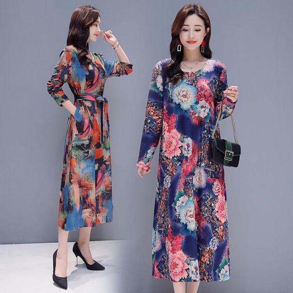 【免運】秋季文藝大尺碼女裝中長款抽象印花連身裙長袖系帶打底衫洋裝 隨想曲