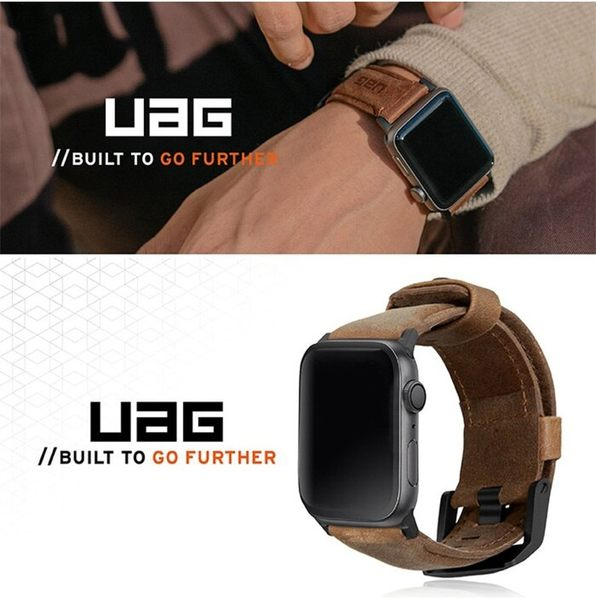 【UAG】Apple Watch 42/44mm 皮革錶帶(黑)(棕) 真皮 LETHER STRAP 釘釦式扣環設計