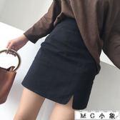 短裙 高腰修身百搭開衩半身裙