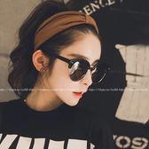 現貨-韓版時尚太陽眼鏡 韓星同款太陽眼鏡鉚釘 韓星同款墨鏡半框 複古簡約個性圓臉大框 56