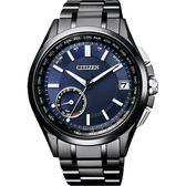 贈皮革錶帶 CITIZEN GPS光動能衛星對時鈦金屬限量錶-藍x黑/43m CC3015-57L