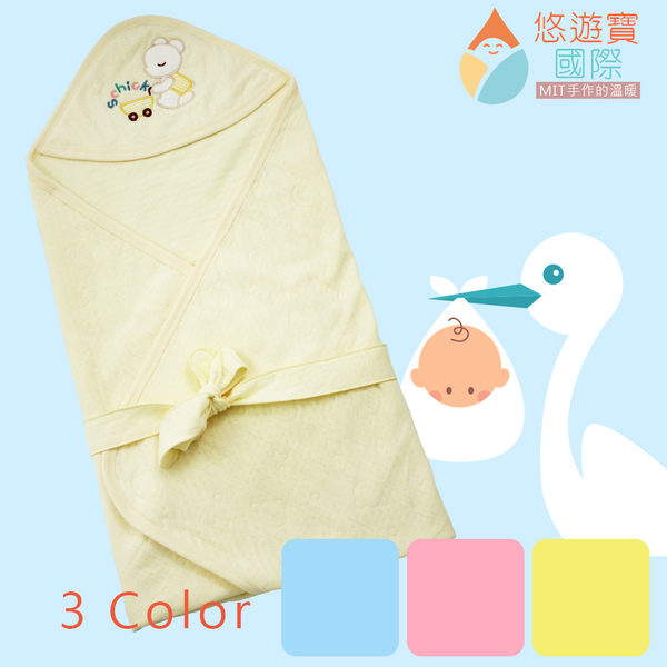 【悠遊寶國際-MIT手作的溫暖】棉柔壓花透氣抱毯/包巾(溫暖黃)