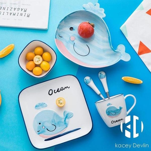 兒童碗碟餐具套裝可愛情侶碗家用寶寶盤子陶瓷少女心日式【Kacey Devlin】