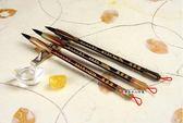 高級紅檀木+牛角經典胎毛筆3支,全手工打造,兼毫,可實際書寫。筆桿材質:赤牛角加檀木