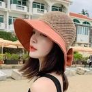 遮阳帽 春夏新款百搭漁夫帽子女針織鏤空拼色蝴蝶結太陽帽遮陽防曬草帽潮