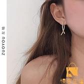 極簡耳釘鑲鉆高級感耳環女韓國簡約氣質弧線設計感【慢客生活】