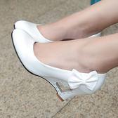 娃娃鞋黑白色亮漆皮cosplay跳舞蝴蝶結可愛甜美淑女桃心楔形單鞋女皮鞋 雲雨尚品