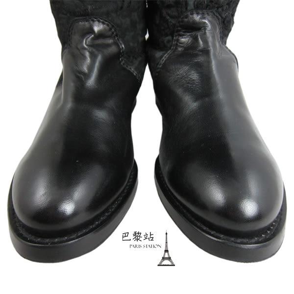【巴黎站二手名牌專賣店】*現貨*Ermanno Scervino 真品*黑色雕花拼接皮革長靴 長統靴
