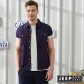 【JEEP】復古滿版印花紋短袖襯衫-深藍