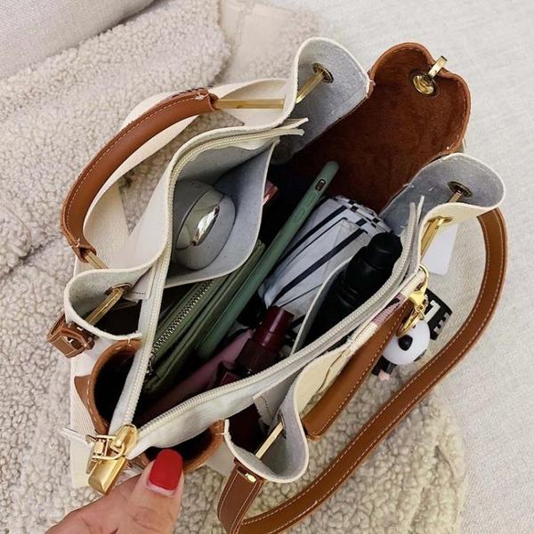 水桶包包包女包新款時尚潮撞色手提水桶包復古百搭大容量側背斜背包 萊俐亞 交換禮物