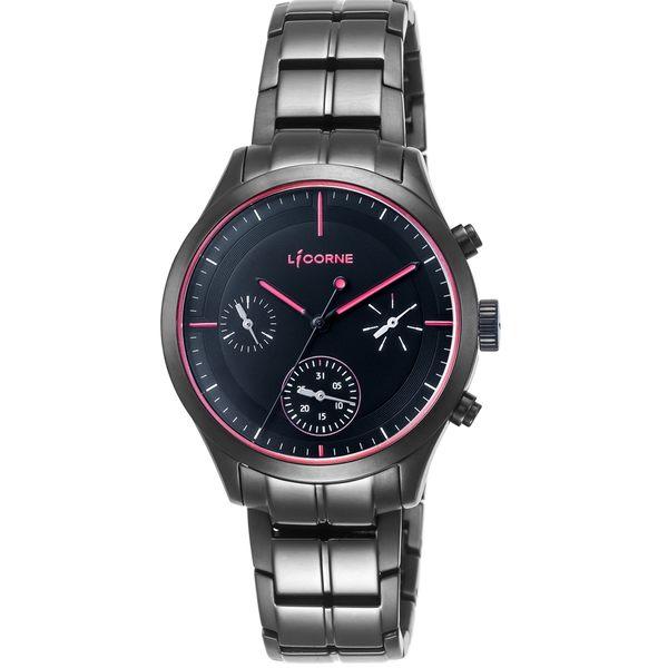 【LICORNE 力抗錶】 都會星空三眼女錶 (黑/紅 LI035LBRI)
