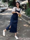 牛仔吊帶裙 復古開叉牛仔背帶裙女小個子2021年夏新款網紅洋氣減齡吊帶連身裙 suger 新品